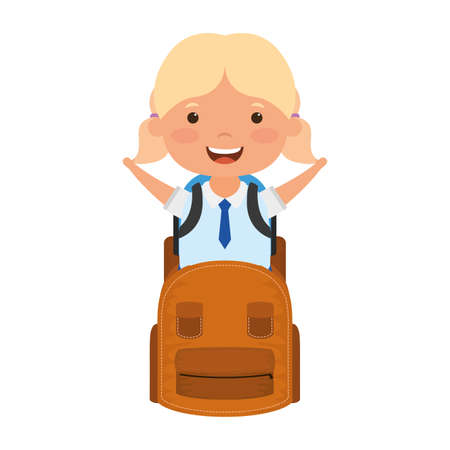 cute little student blond girl with schoolbag character vector illustration