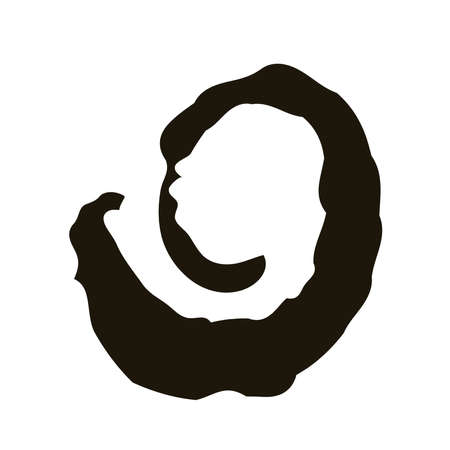 twister circular stain creative design with brush stroke silhouette style vector illustration design