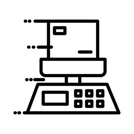 box carton in balance delivery service line style vector illustration design Illusztráció