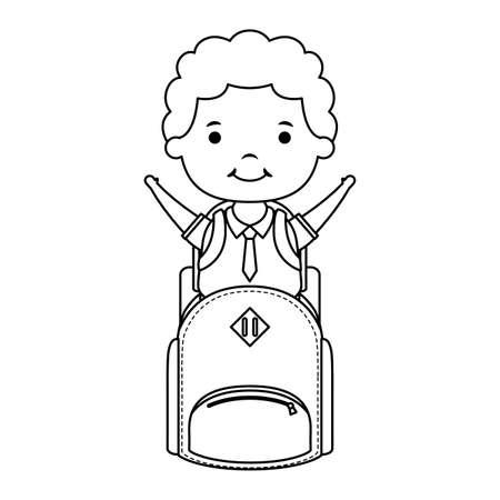 cute little student boy with schoolbag character vector illustration design Ilustração