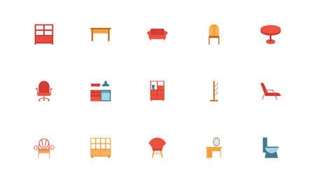 bundle of furniture set icons vector illustration design Ilustração