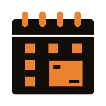 calendar with box carton delivery service silhouette style vector illustration design