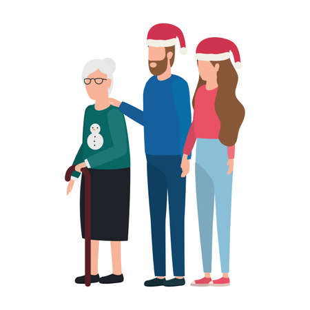 cute grandmother with young couple using christmas hat vector illustration design