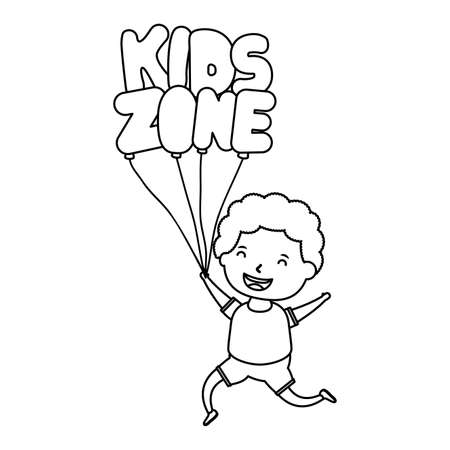 cute little boy with kids zone balloons helium vector illustration design