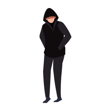 hacker with black clothes on white background vector illustration design