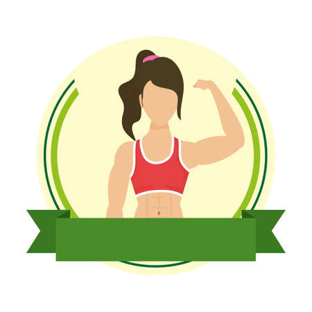 young strong woman athlete in frame vector illustration design Çizim