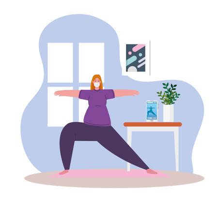 woman exercising at home, stay at home, healthy lifestyle indoor, prevention covid 19 vector illustration design