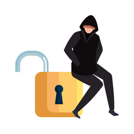 hacker with padlock on white background vector illustration design