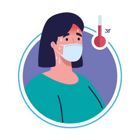 woman wearing medical mask with high fever symptom of coronavirus covid 19 vector illustration design