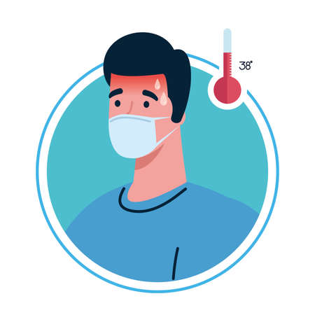 man wearing medical mask with high fever symptom of coronavirus covid 19 vector illustration design Çizim