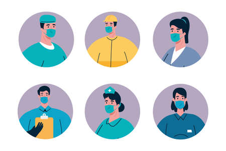 people with uniforms and workermasks design of Coronavirus 2019 nCov workers theme Vector illustration Vectores