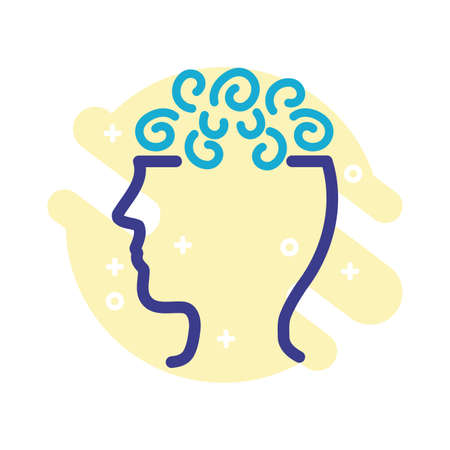 profile with confusion mental health line style icon vector illustration design Vectores