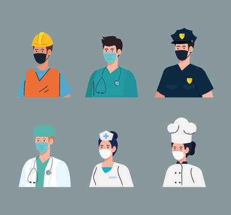 group workers wearing medical mask against covid 19 pandemic vector illustration design