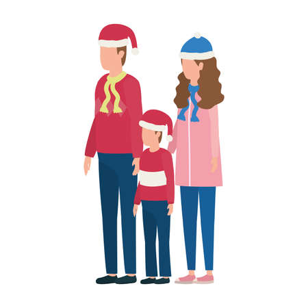 parents couple and son with christmas hats characters vector illustration design 矢量图像