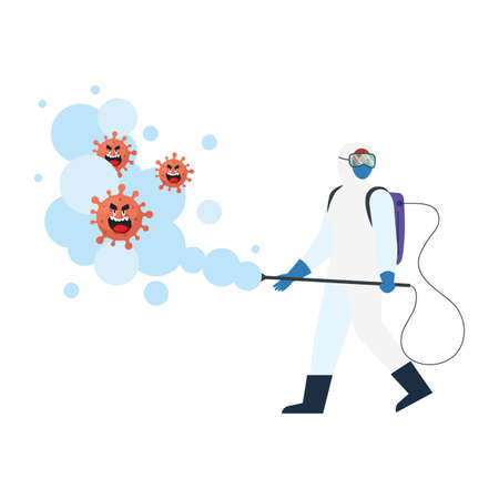 Man with protective suit spraying covid 19 virus cartoons design, Disinfects clean antibacterial and hygiene theme Vector illustration Vectores
