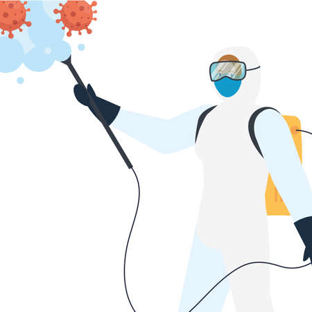 Man with protective suit spraying covid 19 virus design, Disinfects clean antibacterial and hygiene theme Vector illustration Vectores