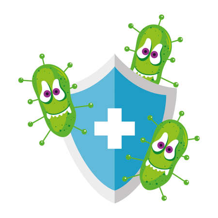 Covid 19 virus cartoon on shield with cross design of 2019 ncov cov coronavirus infection and corona theme Vector illustration