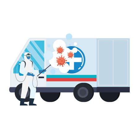 Man with protective suit spraying ambulance with covid 19 virus design, Disinfects clean and antibacterial theme Vector illustration