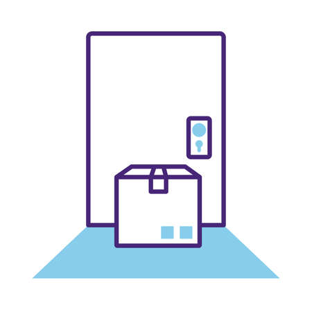 box carton in door delivery service line style vector illustration design