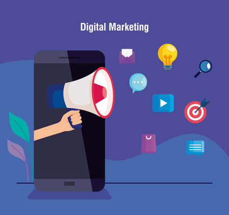 digital online marketing for business and social media marketing,smartphone with megaphone and light bulb and marketing icons vector illustration design