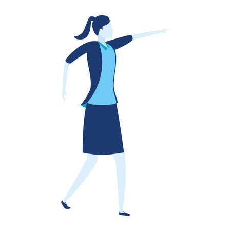 business woman character pointing somewhere on white background vector illustration