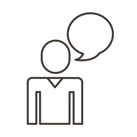 businessman figure with speech bubble line style icon vector illustration design