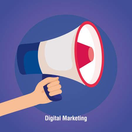 digital online marketing for business and social media marketing, content marketing, hand with megaphone vector illustration design