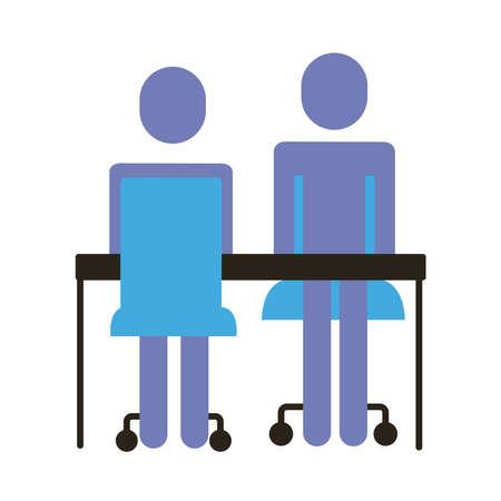 businessmen couple figures in desk flat style icon vector illustration design