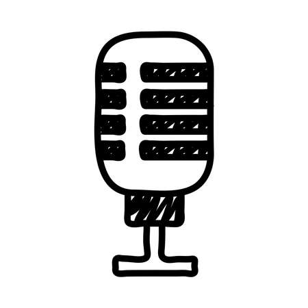 microphone sound audio line style icon vector illustration design