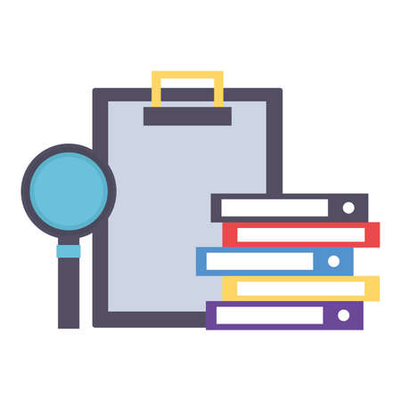 clipboard books magnifier office supply vector illustration