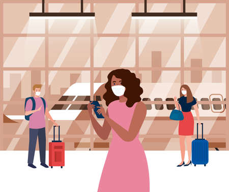 people wearing medical protection mask in airport terminal, traveling by airplane during coronavirus pandemic, prevention covid 19 vector illustration design