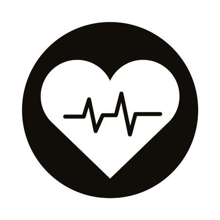 heart cardio silhouette style icon vector illustration design