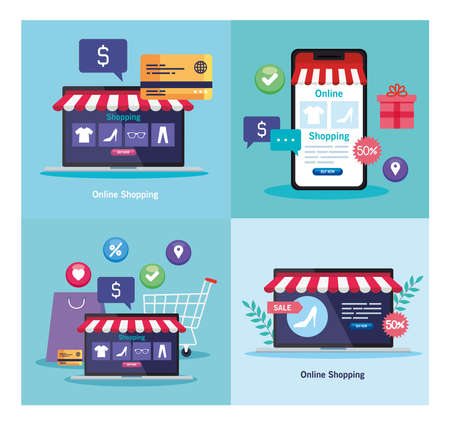 laptops and smartphone with tent and credit card design of Shopping online ecommerce market retail and buy theme Vector illustration