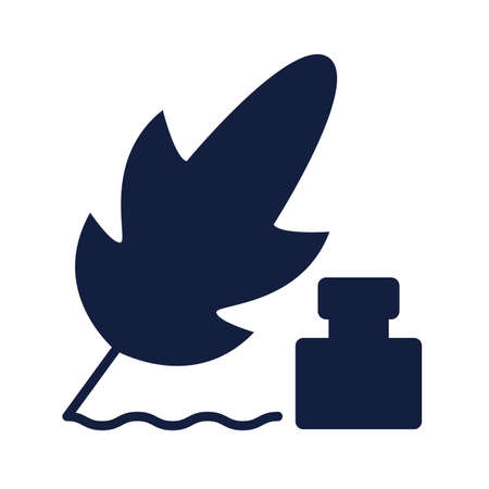 feather and ink bottle silhouette style vector illustration design