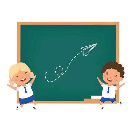 cute little students couple characters vector illustration design