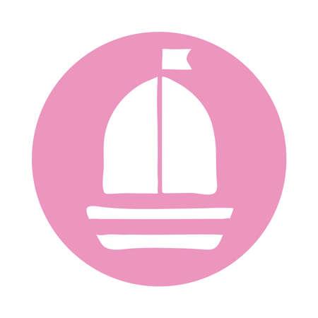 sailboat ship block style icon vector illustration design