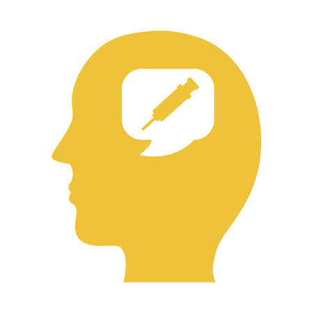 profile with injection mental health silhouette style icon vector illustration design