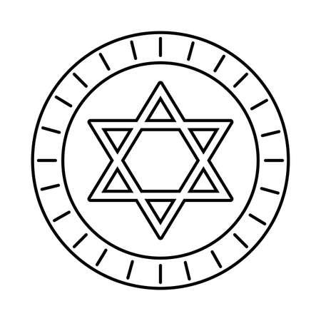 happy hanukkah celebration coin with star vector illustration design Ilustracja