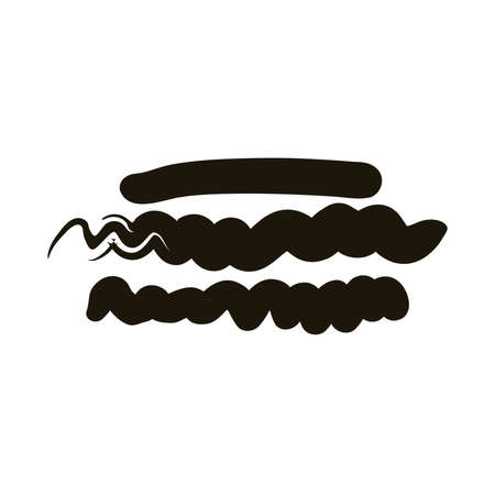 horizontal lines and waves creative design with brush stroke silhouette style vector illustration design