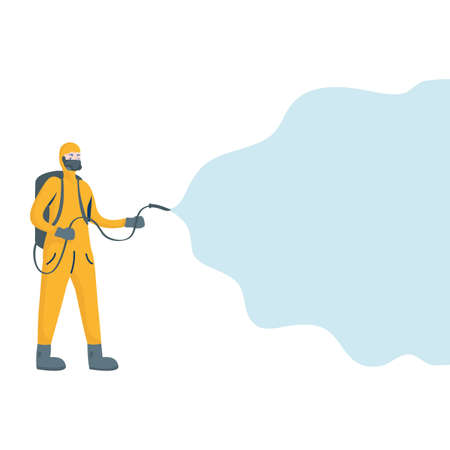 man cleaner with biosafety suit character vector illustration design