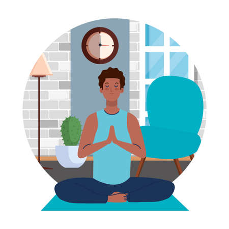 stay home, be safe, man afro meditating in the living room, during coronavirus covid 19, stay at home quarantine, be careful vector illustration design 일러스트