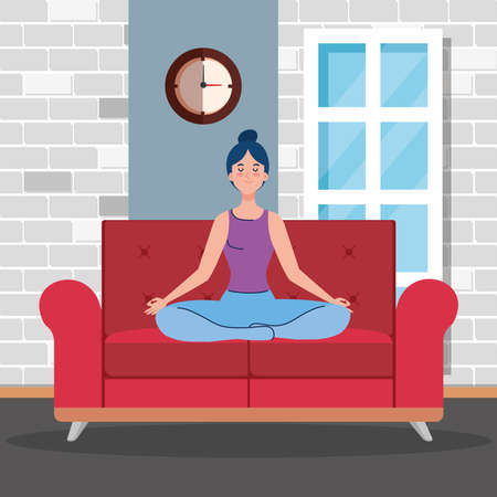 stay home, be safe, woman meditating in the living room, sitting in couch, during coronavirus covid 19, stay at home quarantine, be careful vector illustration design 일러스트