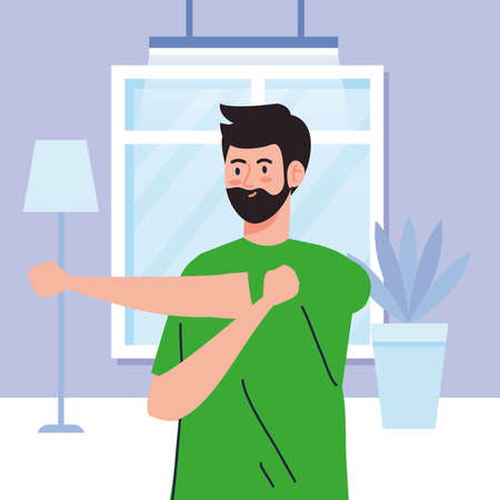 exercise at home, man performing stretching, using the house as a gym vector illustration design