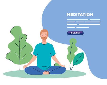 banner of man meditating, concept for yoga, meditation, relax, healthy lifestyle in landscape vector illustration design Vecteurs