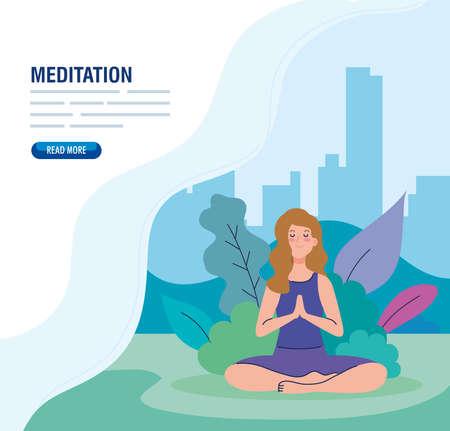banner of woman meditating, concept for yoga, meditation, relax, healthy lifestyle in landscape vector illustration design