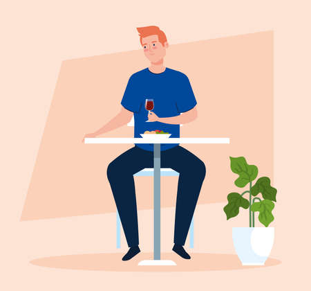 social distance in new concept restaurant, man eating on table, protection, prevention of coronavirus covid 19 vector illustration design
