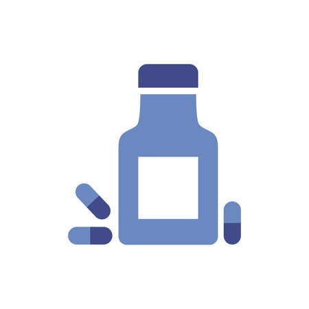 medicine bottle drug flat style icon vector illustration design  イラスト・ベクター素材