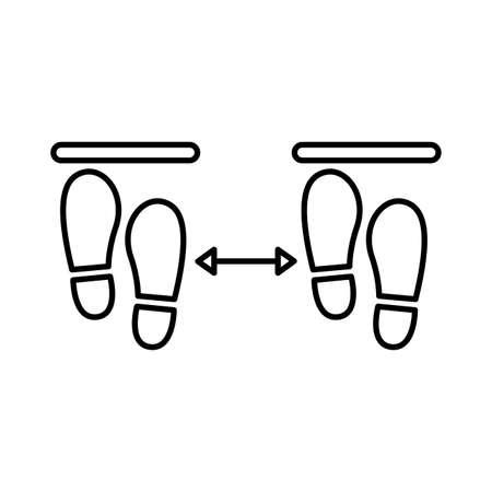 steps prints social distance line style vector illustration design
