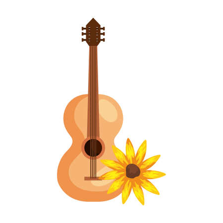 sunflower plant with classical wooden guitar on white background vector illustration design