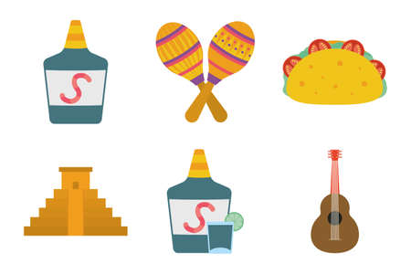 bundle of mexican set icons vector illustration design